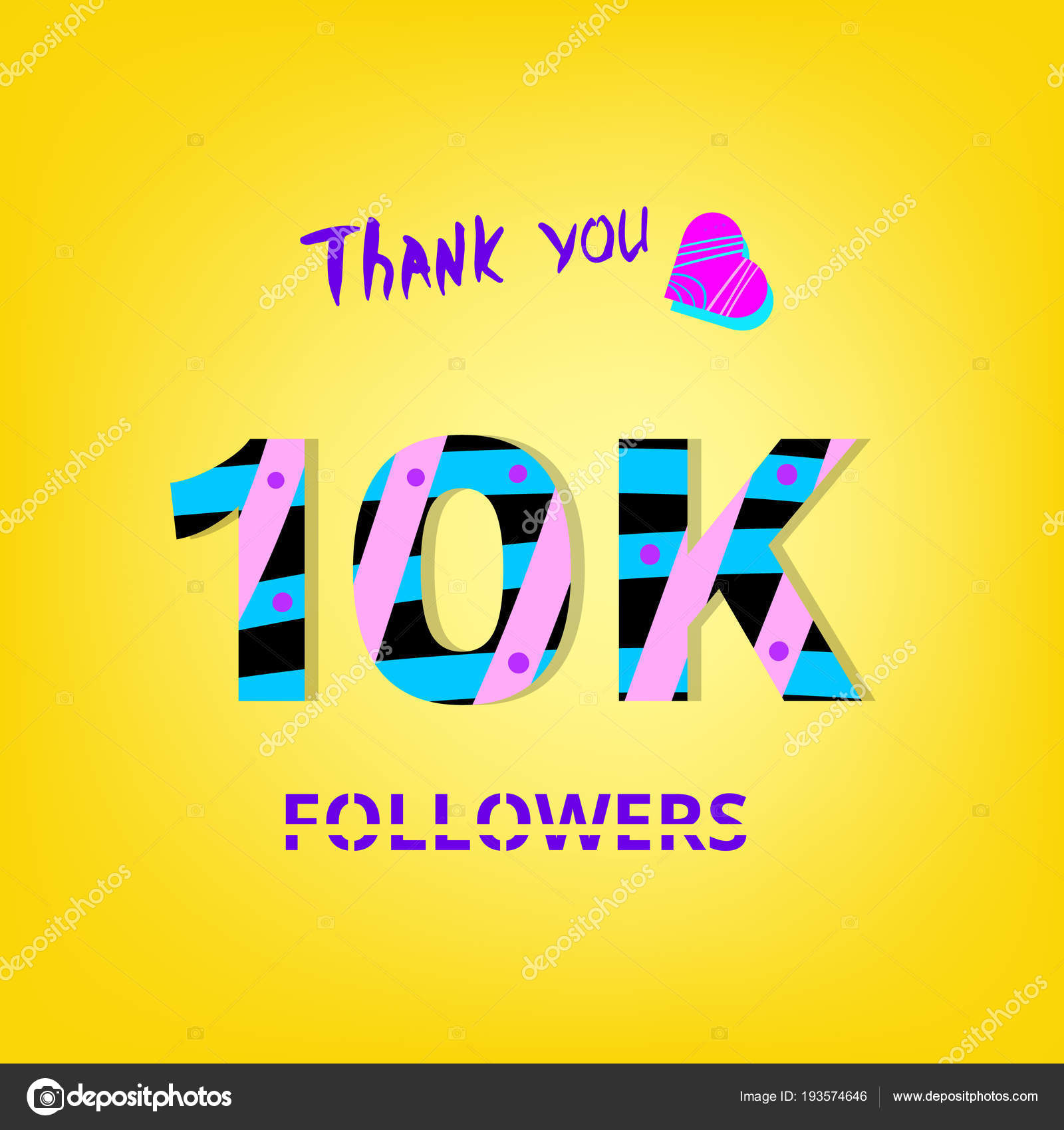 10k Photography 10kphotography: 10K Followers Thank You Phrase On Yellow Background