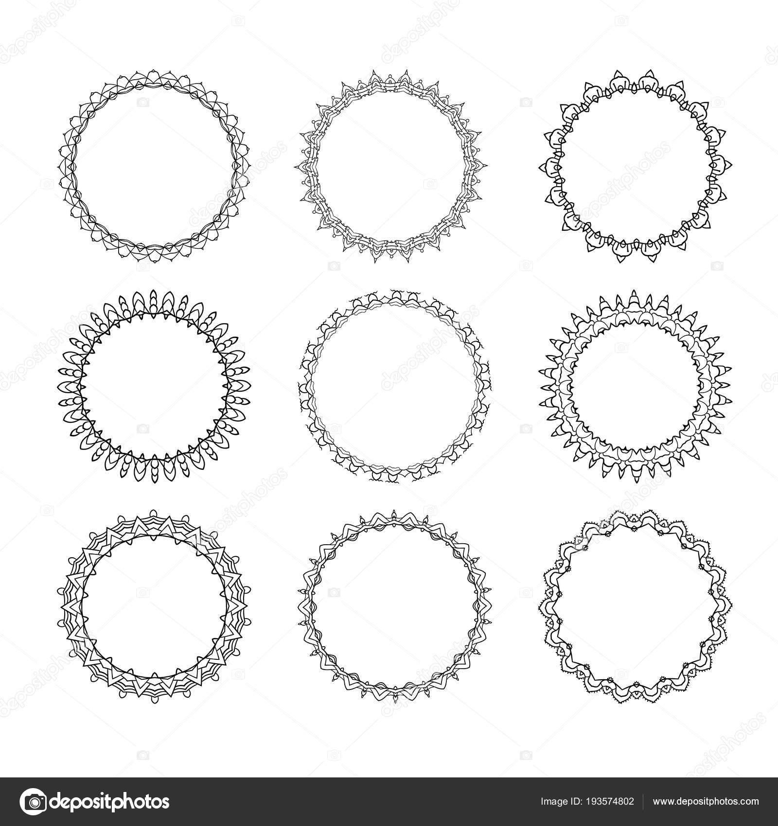 Conjunto de marco redondo — Archivo Imágenes Vectoriales © Syuzannam ...