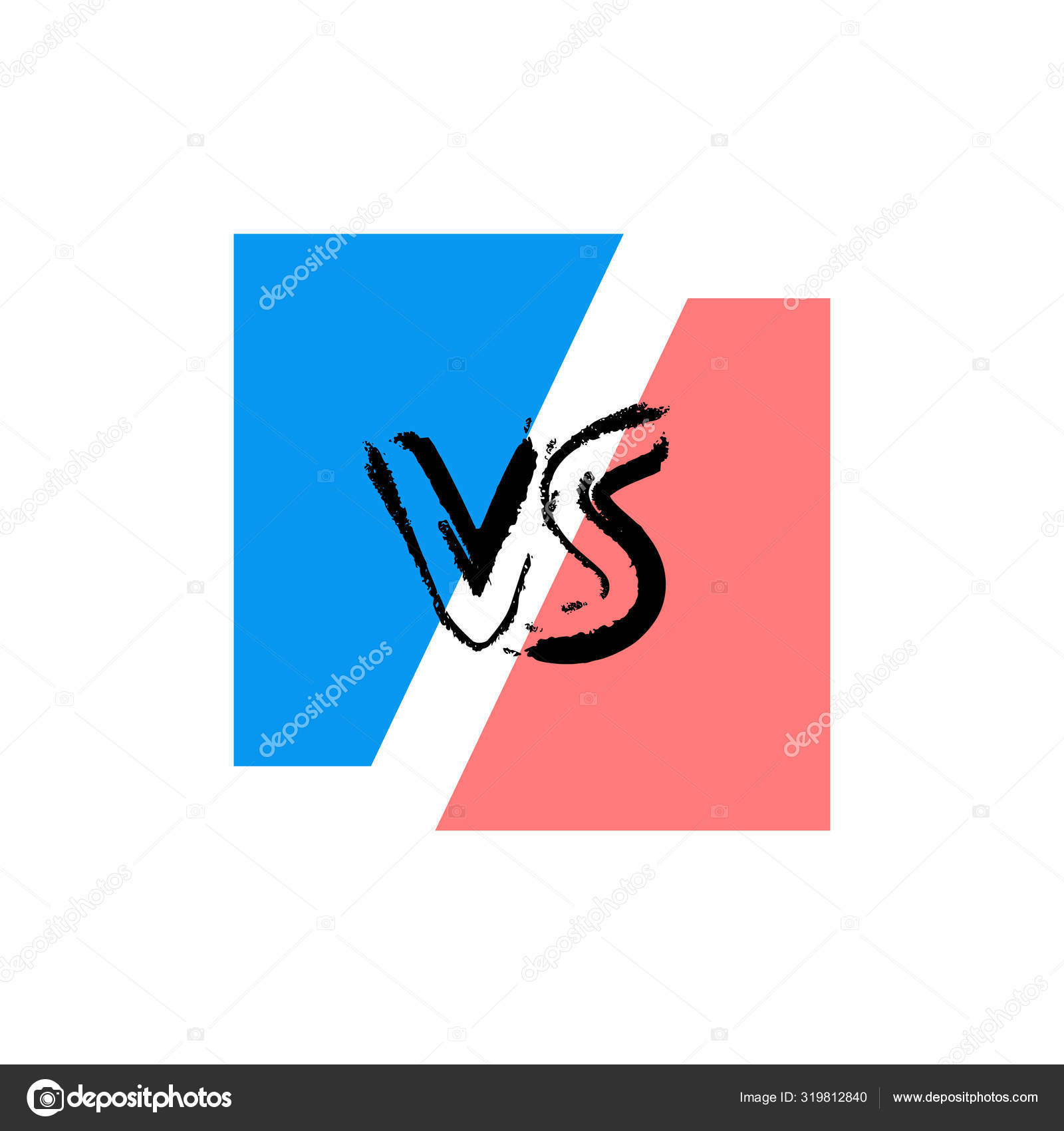 Vs Screen Versus Sign On Divided Background Stock Vector