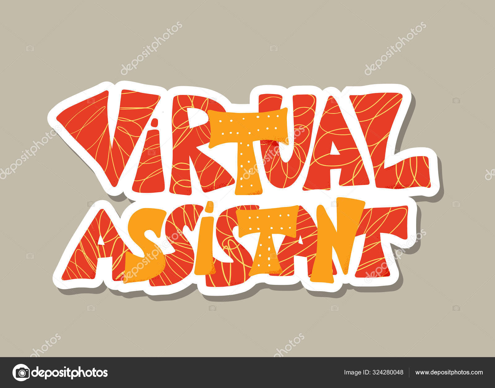Virtual assistant text. Vector hand drawn quote.