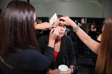 NEW YORK, NY - SEPTEMBER 06: A model getting ready backstage before the Pamella Roland Spring 2018 Collection during New York Fashion Week at Pier 59 on September 6, 2017 in New York City.