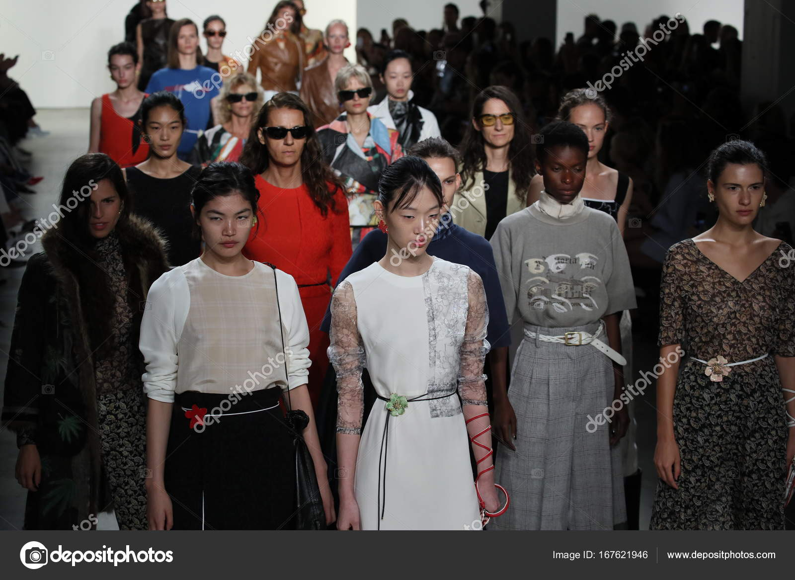 New York September Models Walk Runway Finale Creatures Wind Fashion Stock Photo