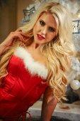 Fotografie Beautiful blonde female model dressed as Sexy Santa Helper. Sensual girl for Christmas.