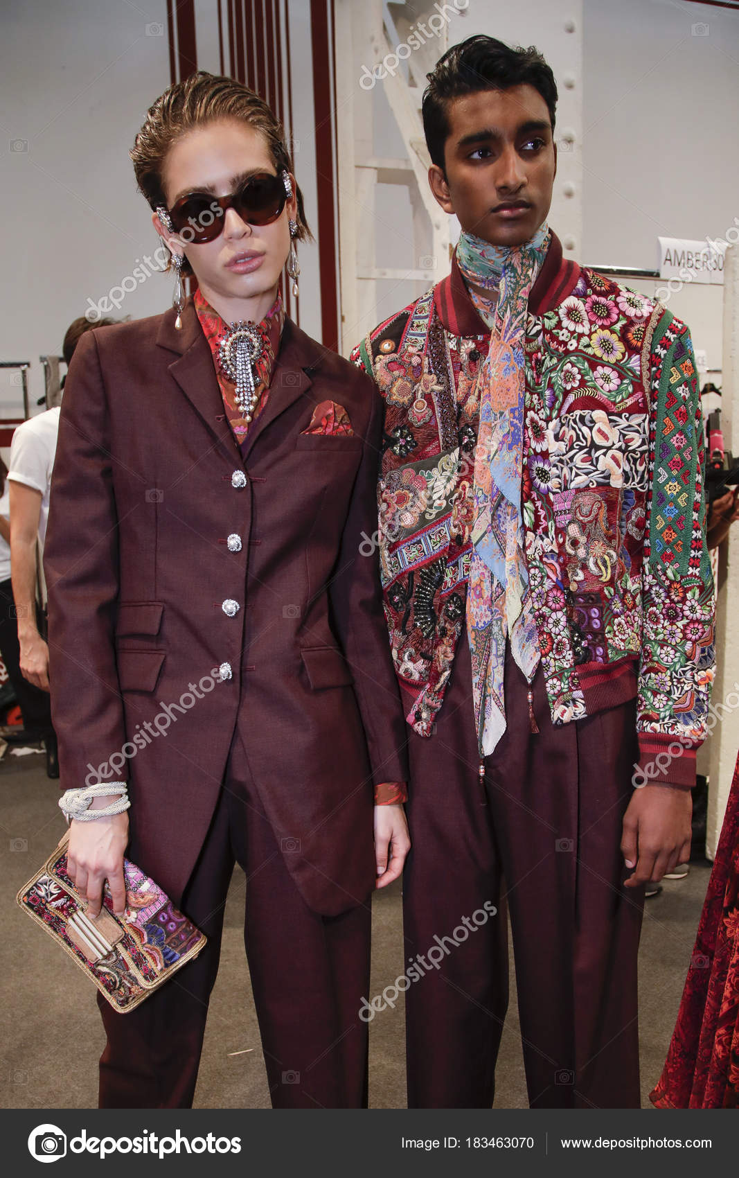 ee033660b11 Milan Italy September Models Seen Backstage Ahead Etro Show Milan ...