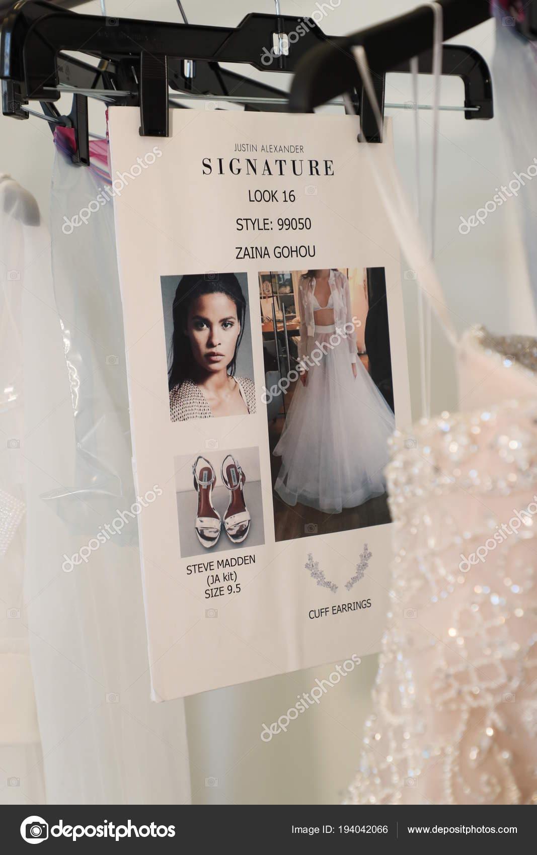 7c221b16d2c0 New York April Bridal Dresses Backstage Justin Alexander Spring 2019 — Stock  Photo