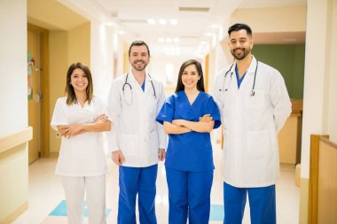 Doctors standing in hallway