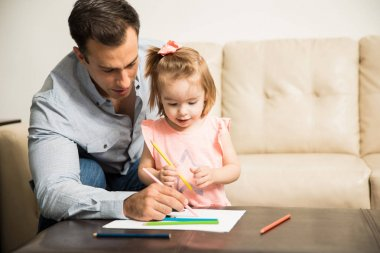 Father and daughter coloring book