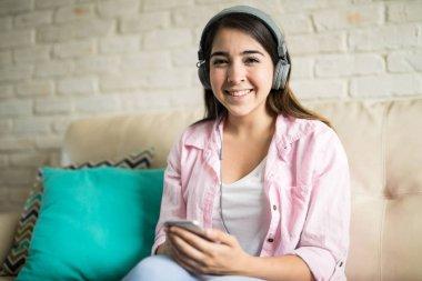 Woman with big headphones