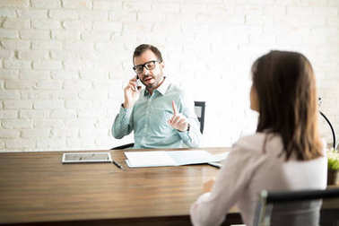 Male boss making client wait