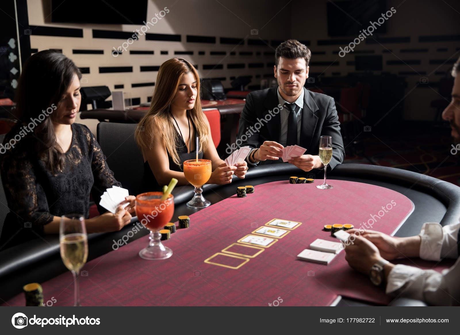 Group People Sitting Poker Table Looking Very Serious Game Casino U2014 Stock  Photo