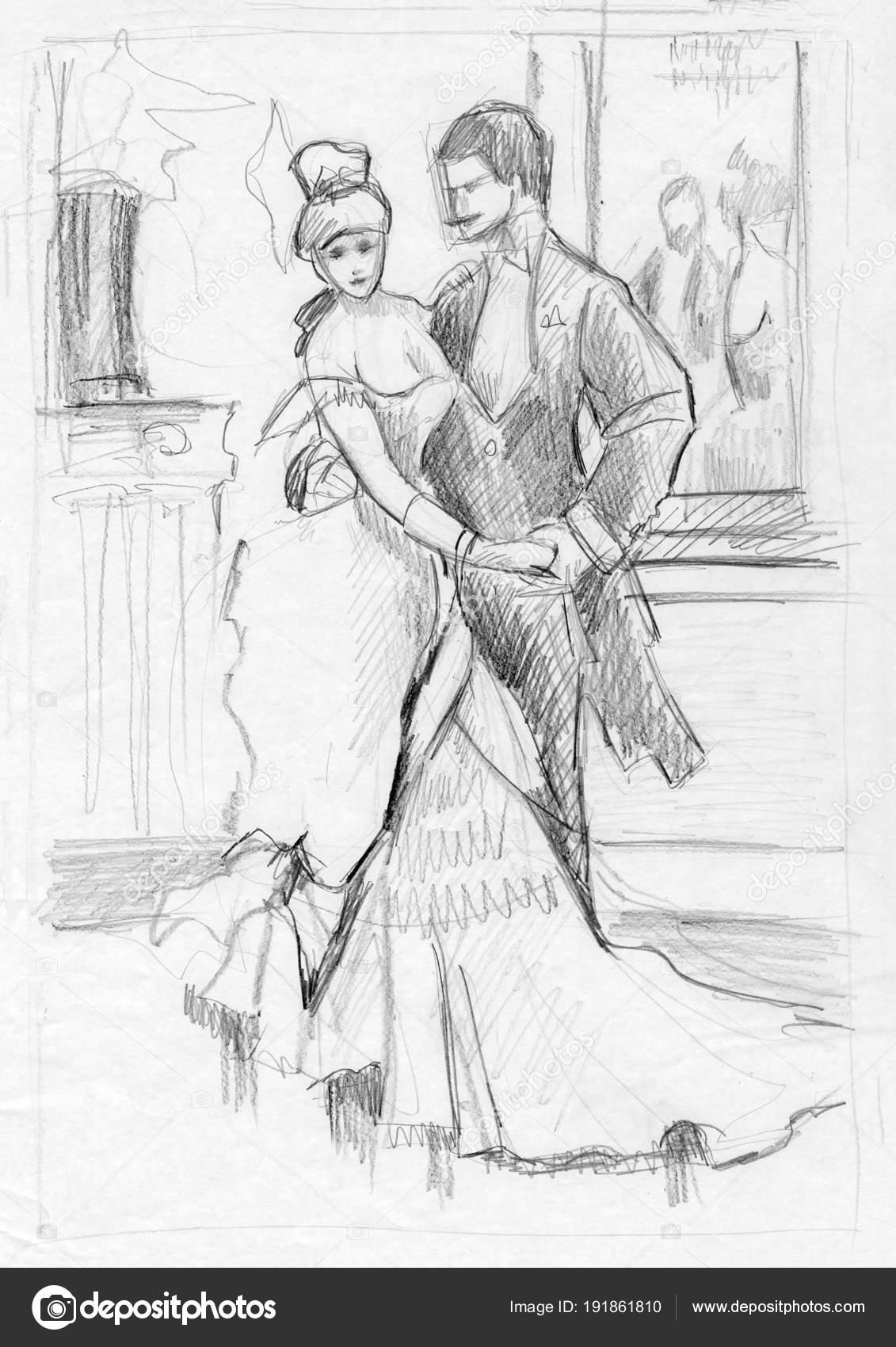 Dancing pencil drawings stock photo