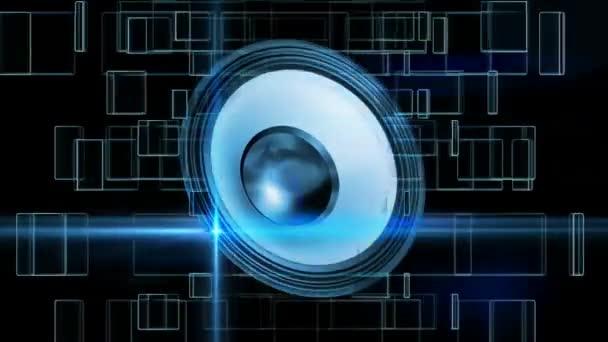 Vibrierende Lautsprecher mit animierten Plätzen und Linien im Hintergrund