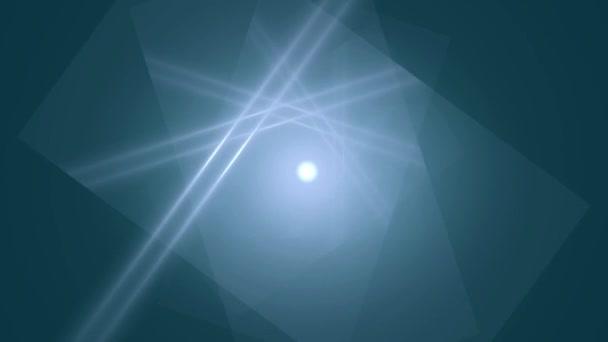 Abstraktní kompozice rotačních čtverce a světlo pruhy na světle modrém pozadí