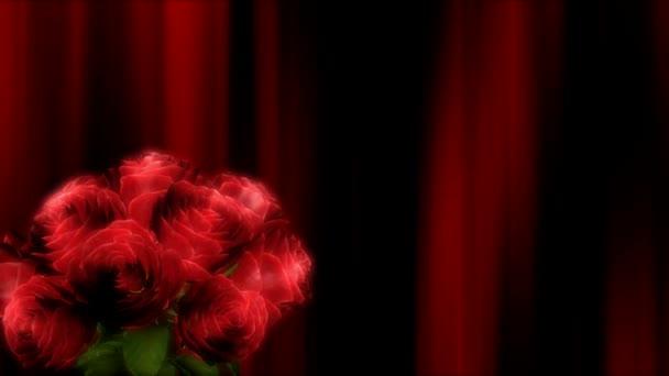 Rosenstrauß auf rotem Hintergrund