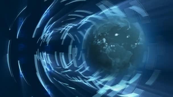 Erde rotiert mit Zahlen im Hintergrund