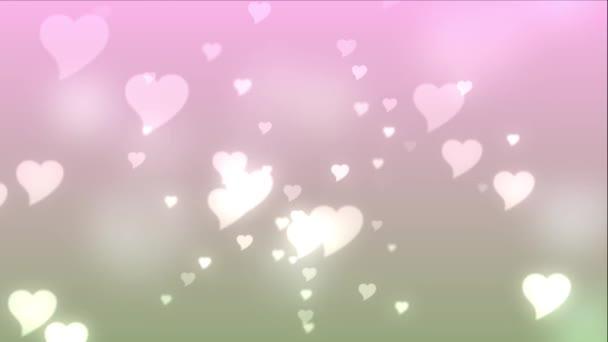 pink hearts floating upwards on a light pink background