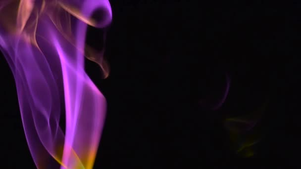 Purple and yellow smoke rising against a black background
