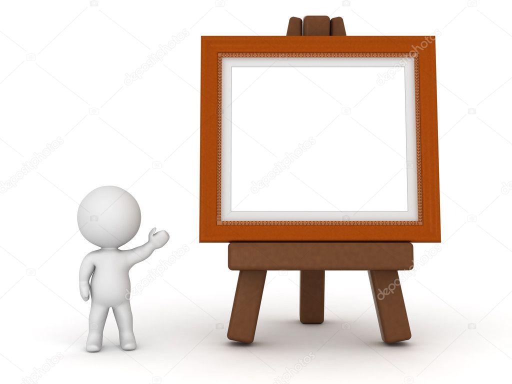 3D carácter mostrando caballete con marco de pintura — Foto de stock ...