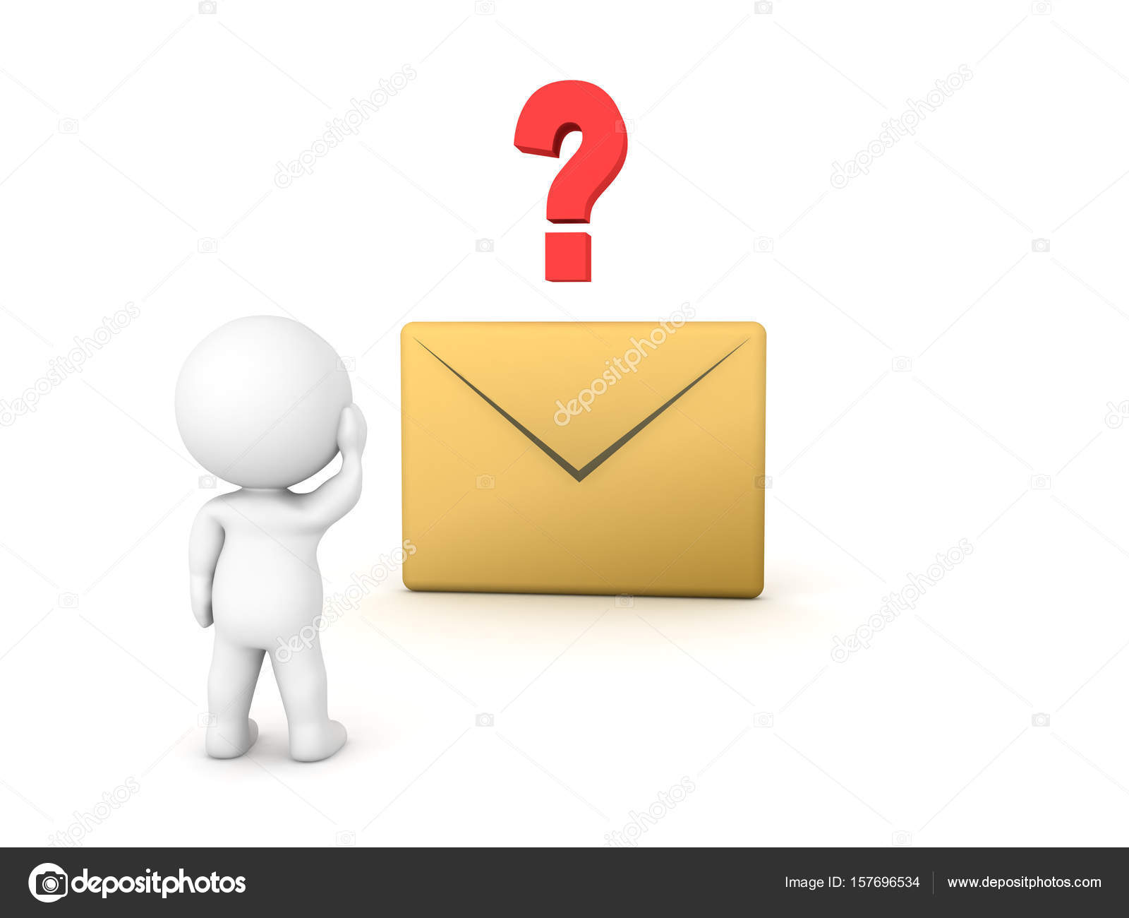 3d character looking at e mail icon with question mark above it 3d character looking at e mail icon with question mark above it stock photo biocorpaavc Choice Image