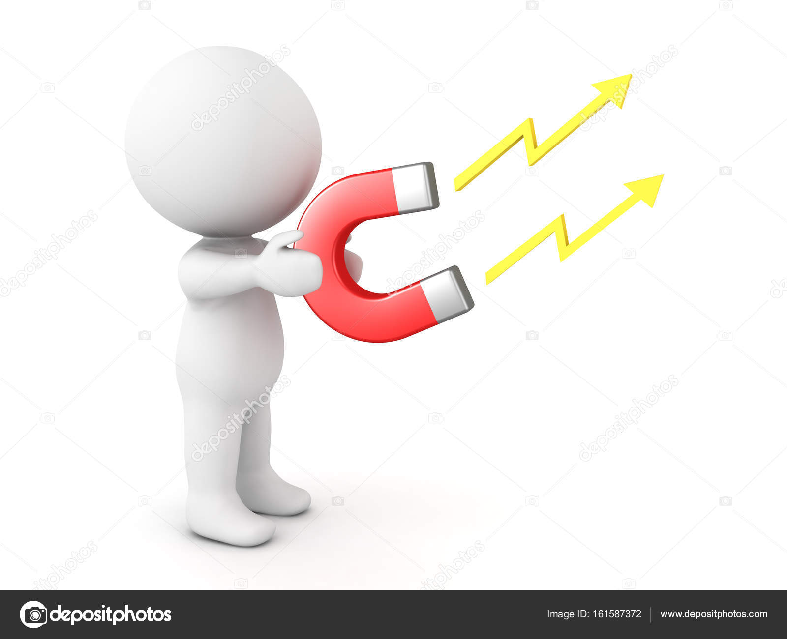 3D Character holding in his hands electromagnet — Stock Photo ...