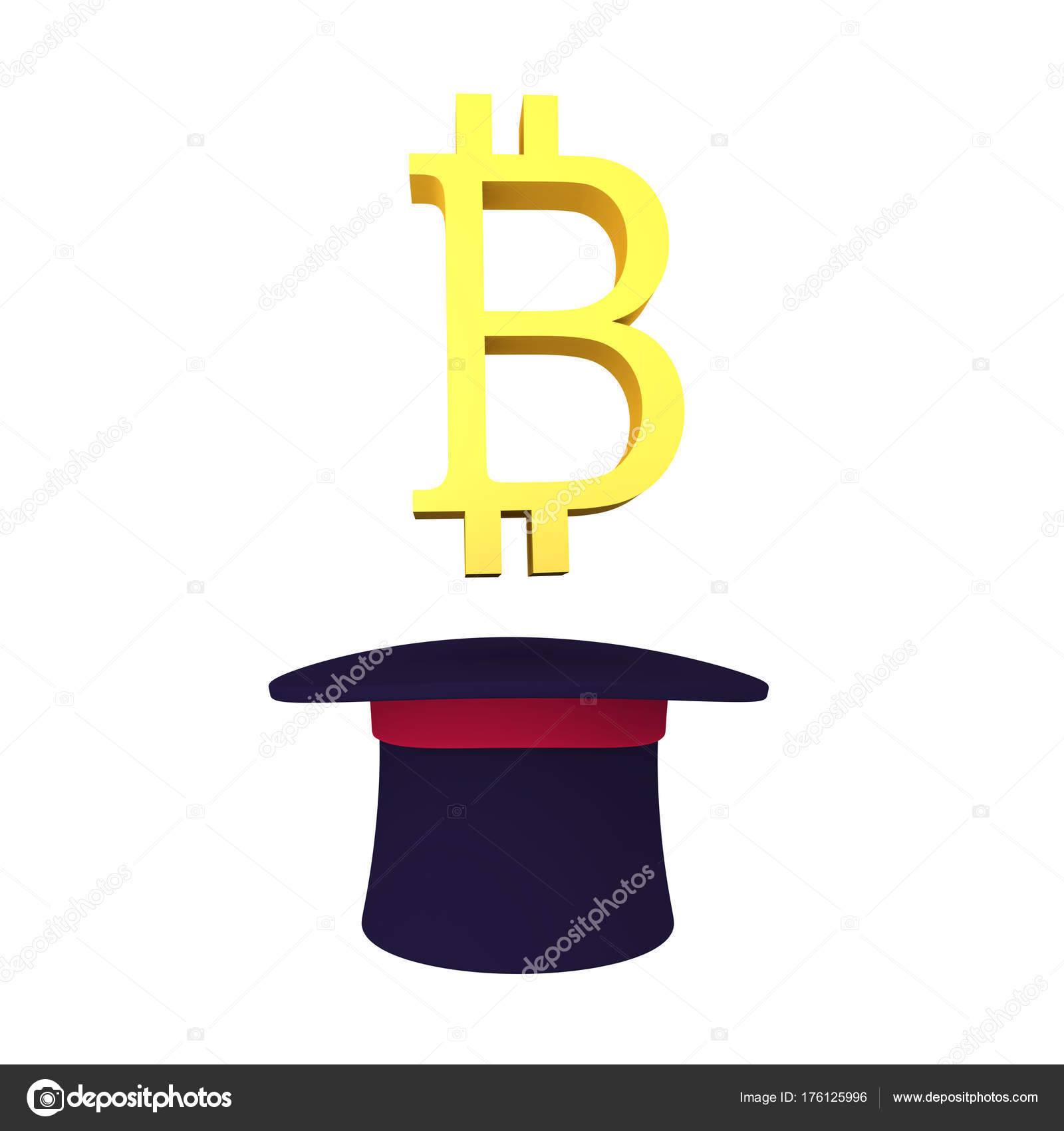 3d Bitcoin Symbol Emerging Out Of Top Hat Stock Editorial Photo