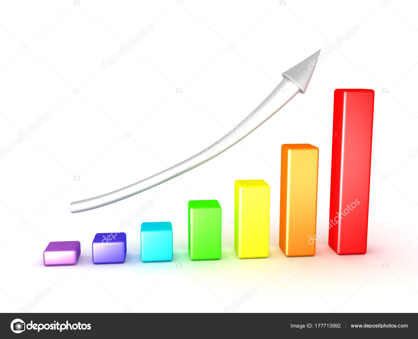 3D Illustration Of Colorful Chart Graph Showing Upward