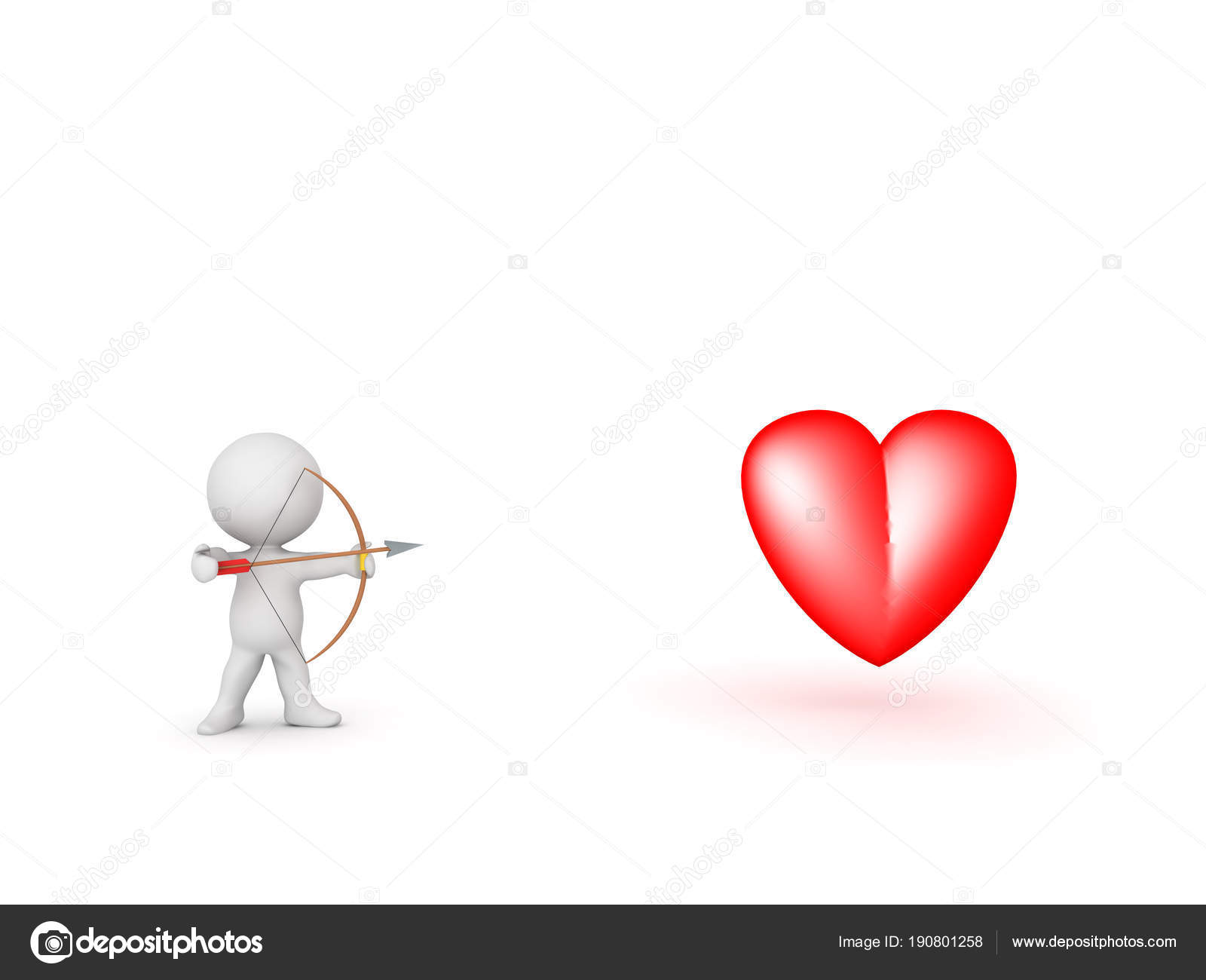 3d Character With Bow And Arrow Aiming At Heart Symbol Stock Photo