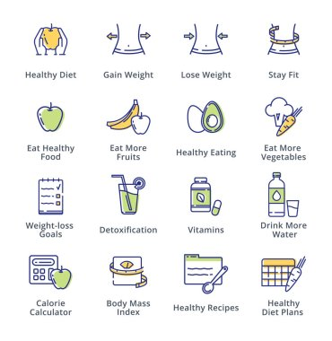 This set contains dieting icons that can be used for designing and developing websites, as well as printed materials and presentations. clip art vector