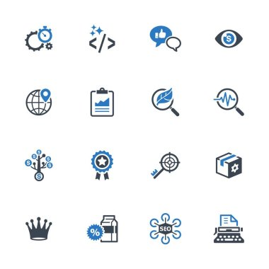 SEO & Internet Marketing Icons Set 4 - Blue Series