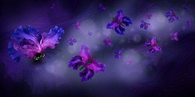 Amazing butterflies fairies of flowers, hydrangeas and irises stock vector