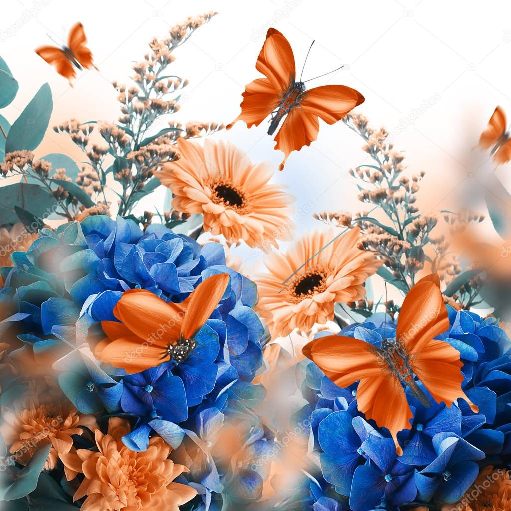 floral card with butterflies sitting on hydrangeas