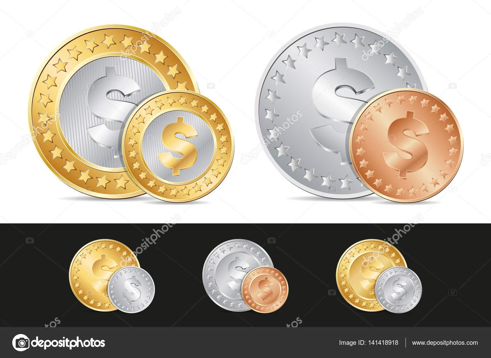 Gold Silber Und Bronze Dollar Münzen Stockvektor Merrydolla
