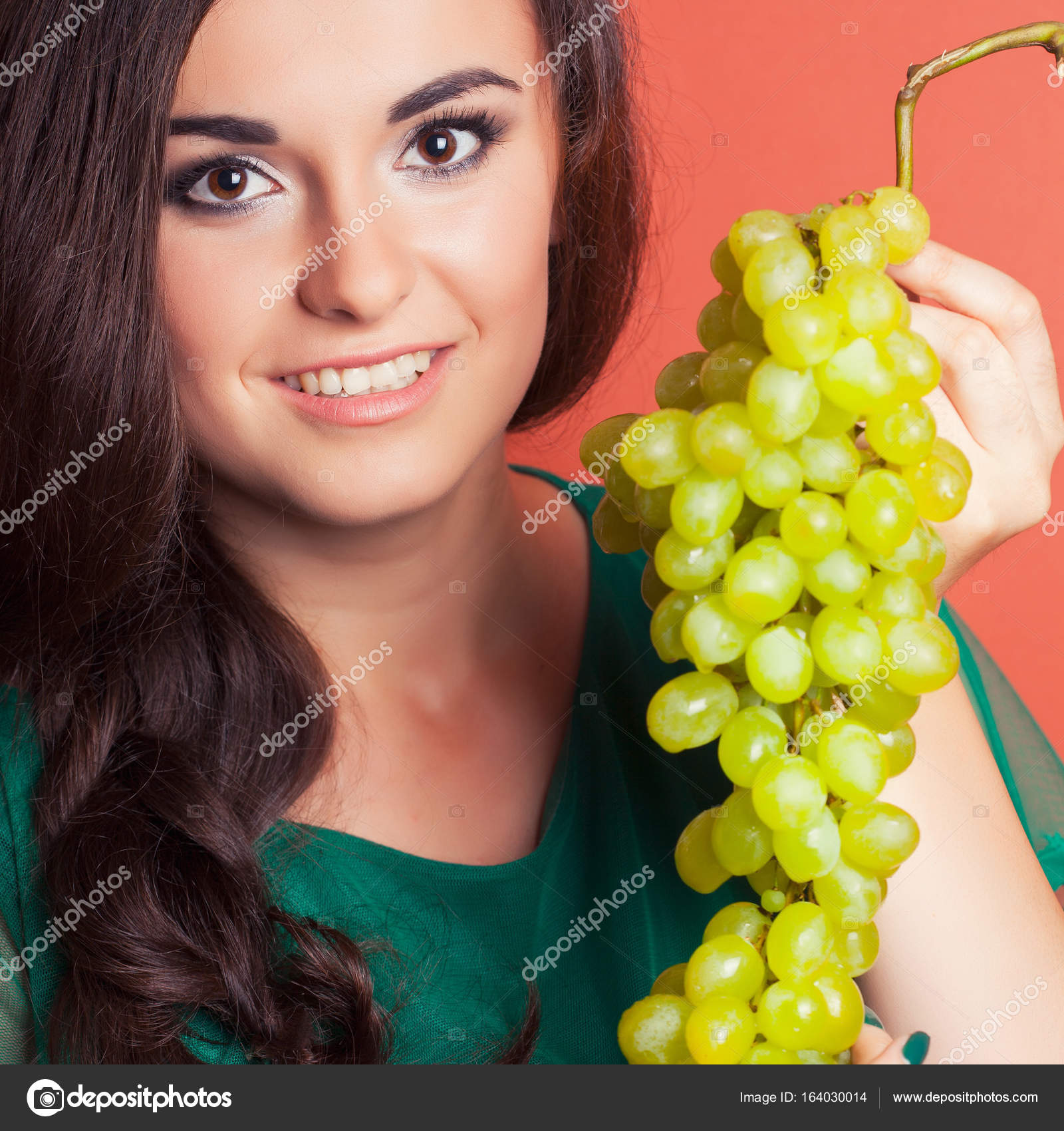 Woman Holding Green Grapes Stock Photo C Merrydolla 164030014