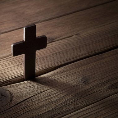 wooden cross on  background