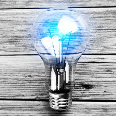 bulb on the brown  background