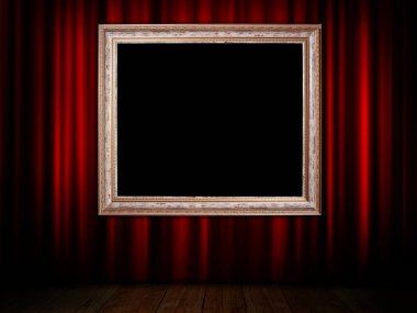 red curtain with frame
