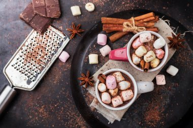 Hot chocolate with marshmallows and spices on grunge dark table