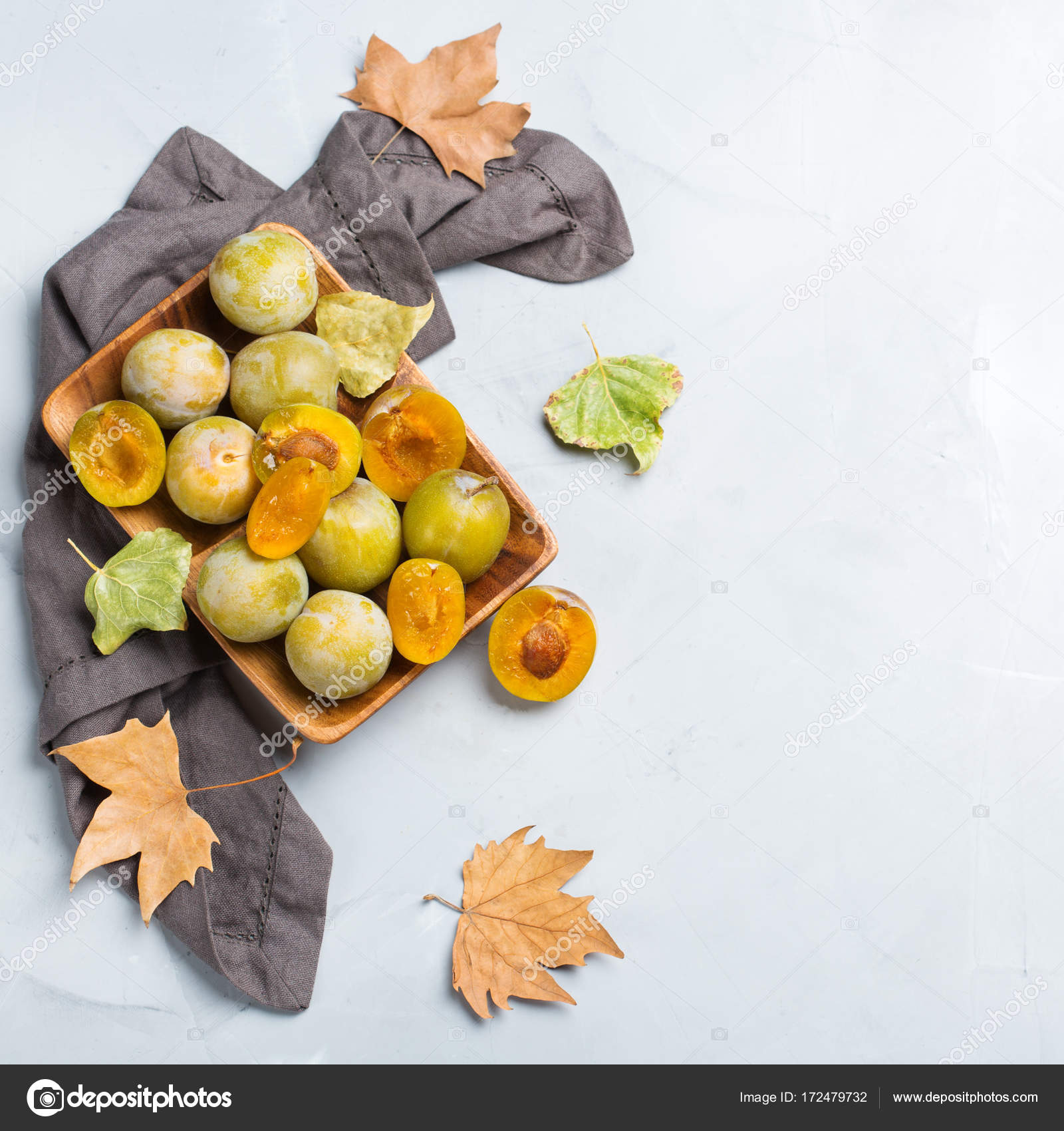 Autumn Fall Harvest Concept Ripe Juicy Yellow Plums Cozy Kitchen ...