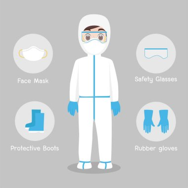 Doctors Character wearing in full protective suit Clothing isolated and Safety Equipment for prevent virus Wuhan Covid-19.Corona virus, people wearing Personal Protective Equipment.Work safety stock vector