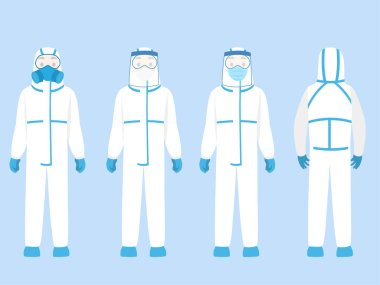 Set of people Character wearing in PPE personal protective suit Clothing isolated and Safety Equipment for prevent Corona virus, doctor wearing Personal Protective Equipment.Work safety stock vector