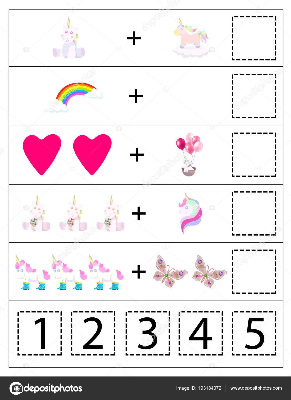 Mathematik Einhörner Kinder Spiel Druckbare Kinderspiel Vorschule ...