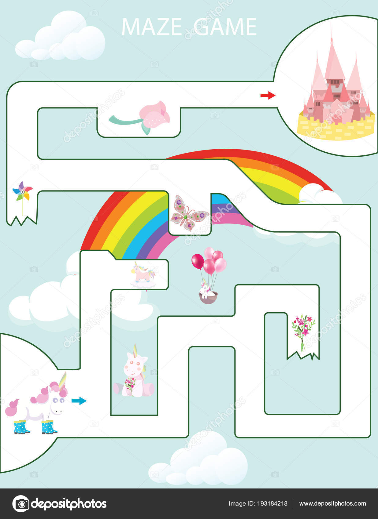 Labyrinth Spiel Kinder Druckbare Game Vektor Illustration Vorschule ...