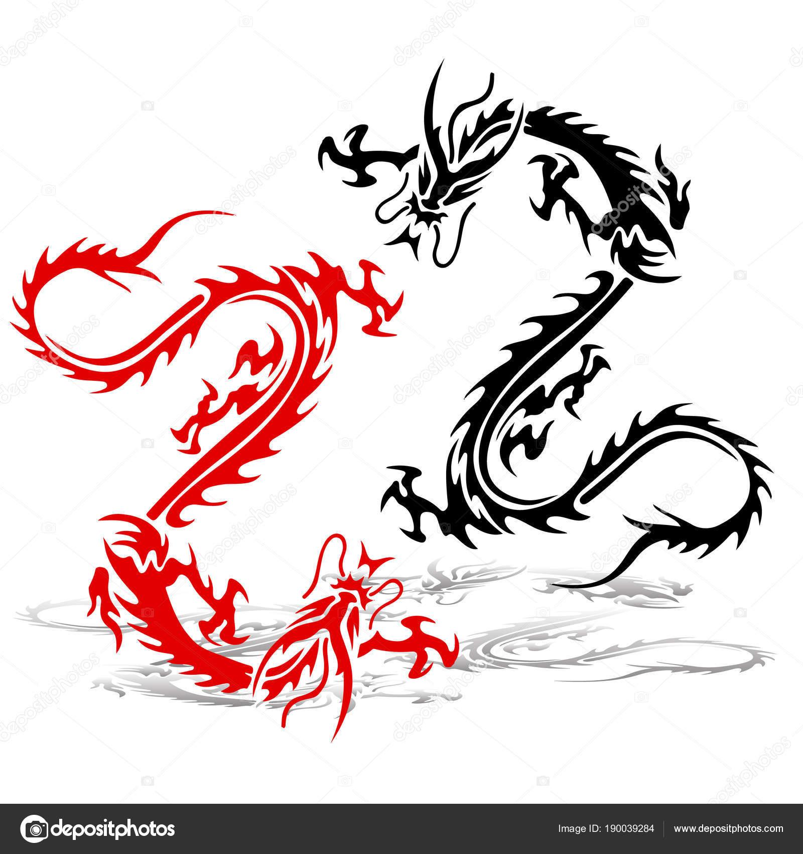 Dos Silueta De Un Dragón Rojo Y Negro En Una Pelea Tatuaje En