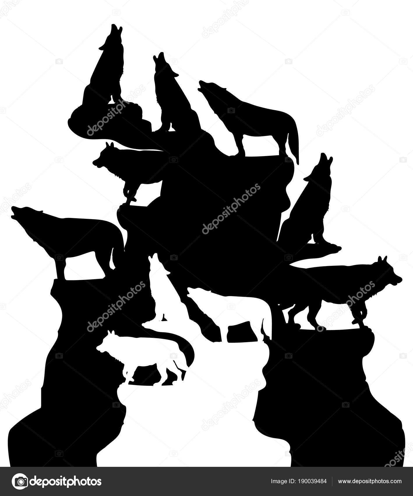 Ilustración Abstracta Una Manada De Lobos Aullando A La Luna En