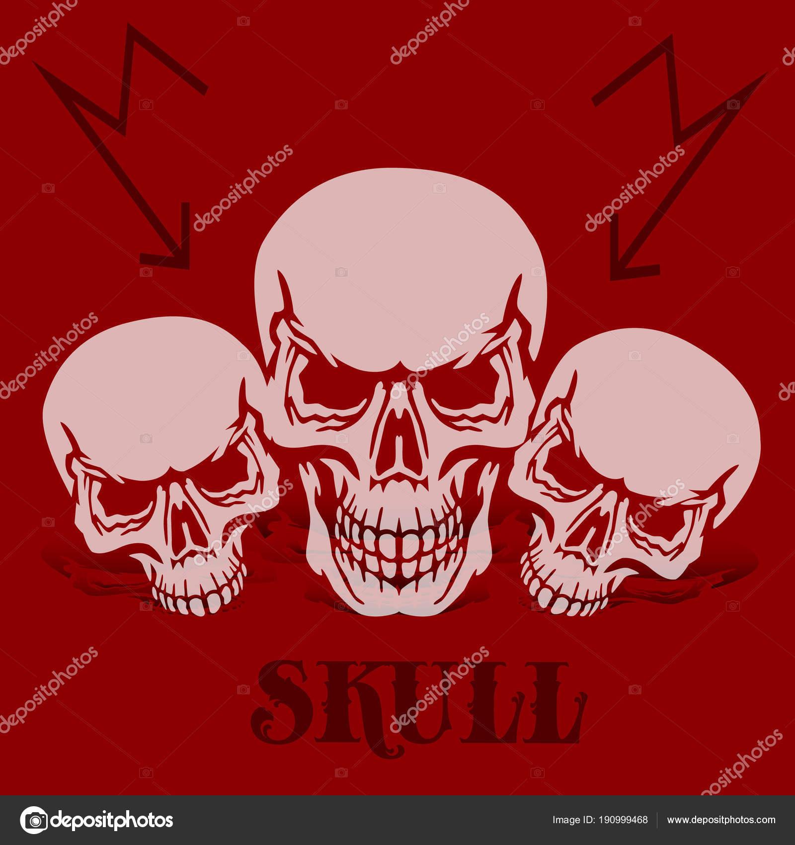 La bandera sobre un fondo rojo. Tres calaveras grises, silueta con ...