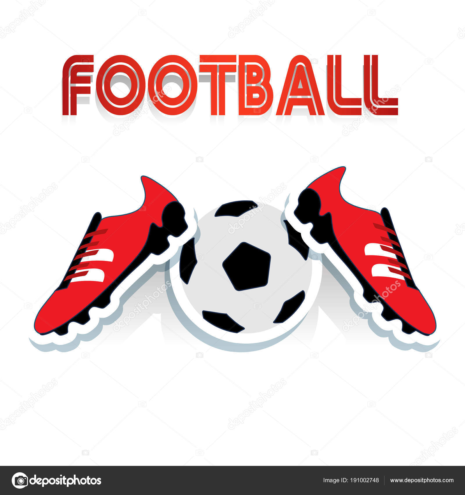 Red soccer shoes and soccer ball, and