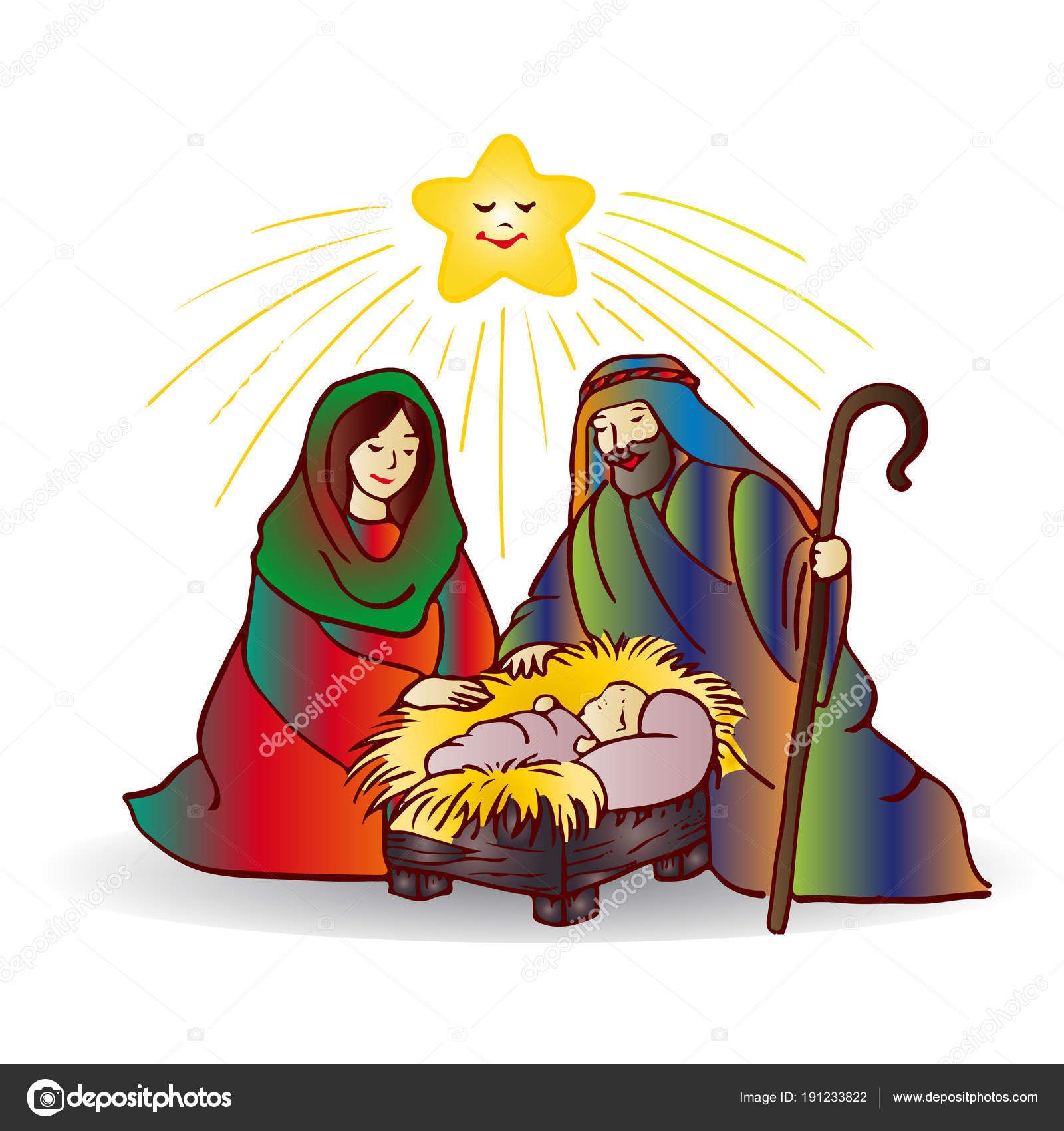 Dibujos De Navidad Con Jesus.Ilustracion De Navidad Jesus Cristo De Dibujos Animados