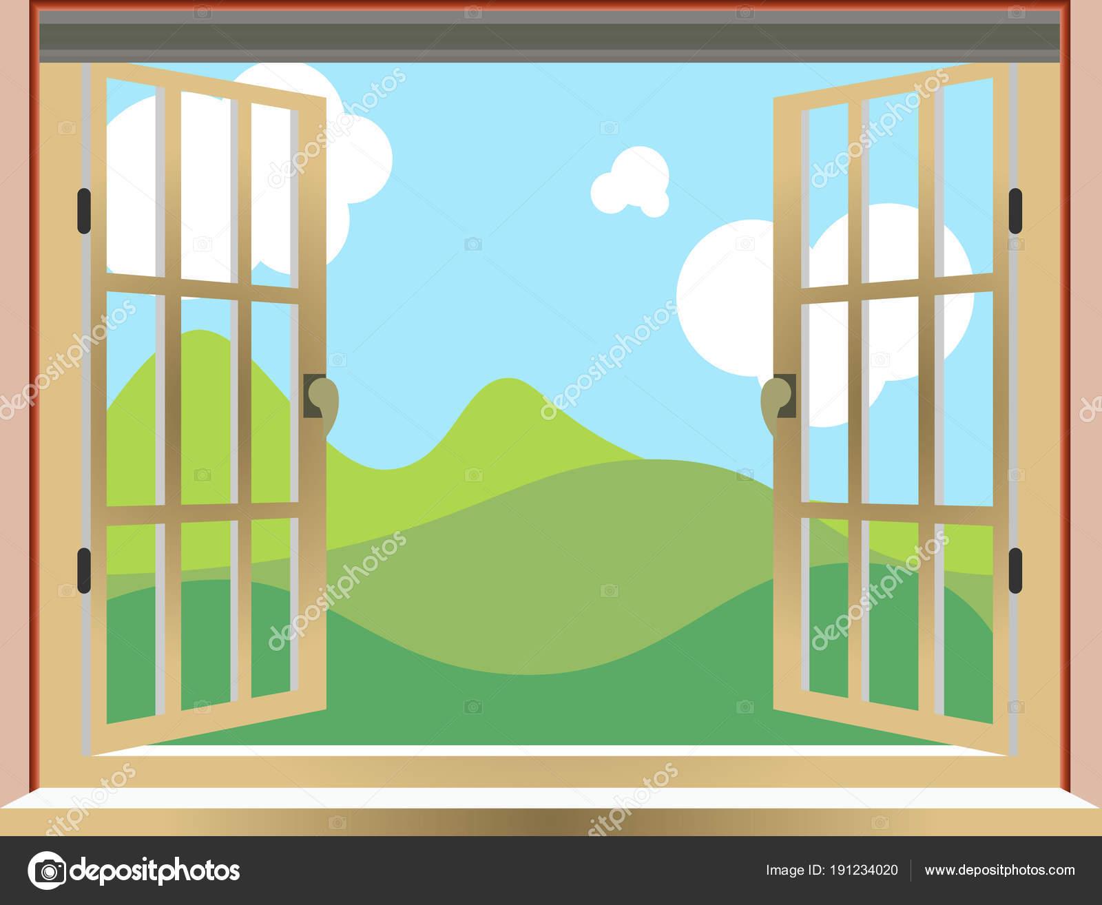 Illustration Dune Fenêtre Ouverte La Vue De La Nature La Bande