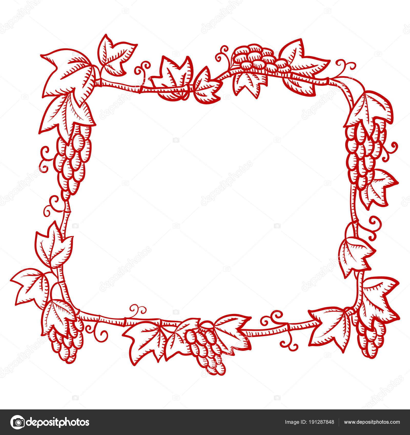 schne rote reich verzierten rahmen mit trauben mustern silhouette zeichnen stockvektor - Schone Muster Zum Zeichnen
