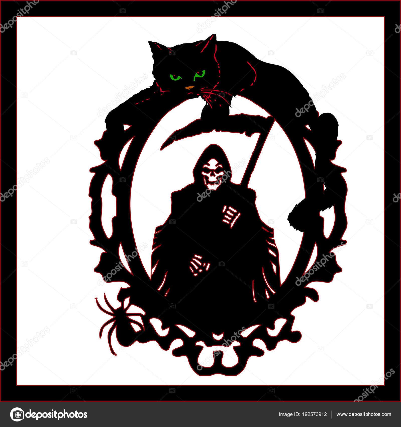 Halloween.Siluet Tod mit einer Sense im Rahmen an der Spitze liegt ...